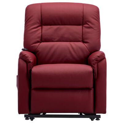 vidaXL Elektrisk reclinerfåtölj med uppresningshjälp vinröd konstläder