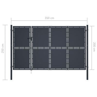 vidaXL Trädgårdsgrind stål 350x200 cm antracit