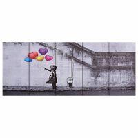 vidaXL Canvastavla barn med ballonger flerfärgad 150x60 cm