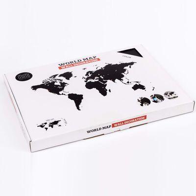 MiMi Innovations Väggdekoration världskarta Luxury svart 180x108 cm, Svart