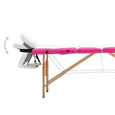 vidaXL Hopfällbar massagebänk 4 sektioner trä vit och rosa