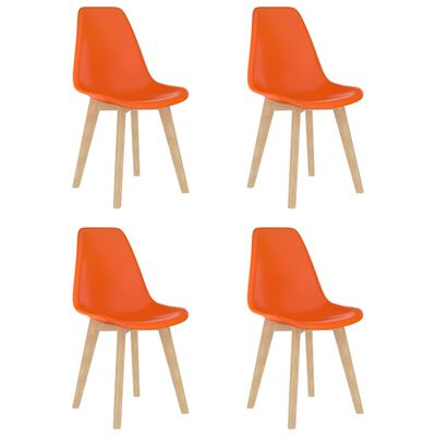 vidaXL Matstolar 4 st orange plast
