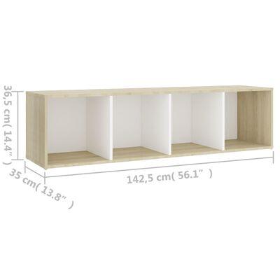 vidaXL TV-bänk vit och sonoma-ek 142,5x35x36,5 cm spånskiva