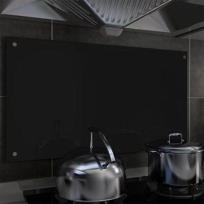 vidaXL Stänkskydd svart 90x50 cm härdat glas