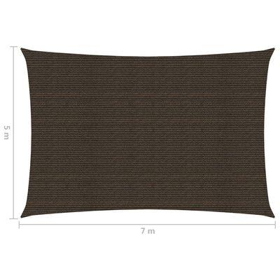 vidaXL Solsegel 160 g/m² brun 5x7 m HDPE