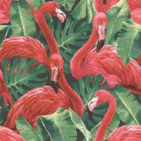 Noordwand Tapet Flamingo and Monstera röd, Röd