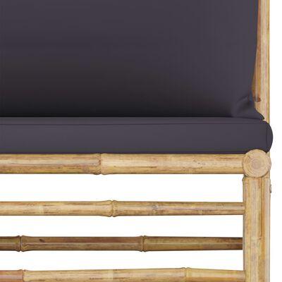 vidaXL Loungegrupp för trädgården med mörkgrå dynor 4 delar bambu