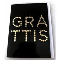 Victoria's Design Grattiskort med kuvert Svart med guldprickig text