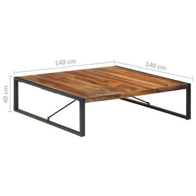 vidaXL Soffbord 140x140x40 cm massivt trä med sheshamfinish