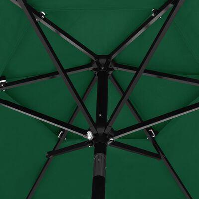 vidaXL Trädgårdsparasoll med aluminiumstång 2,5 m grön