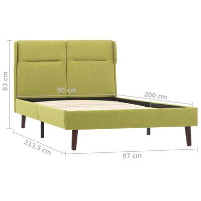 vidaXL Sängram grön tyg 90x200 cm