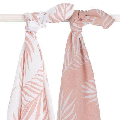 Jollein Multifunktionella handdukar 2 st natur 115x115 cm ljusrosa