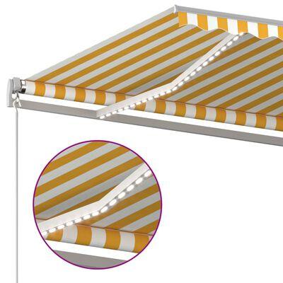 vidaXL Markis manuellt infällbar med LED 400x350 cm gul och vit