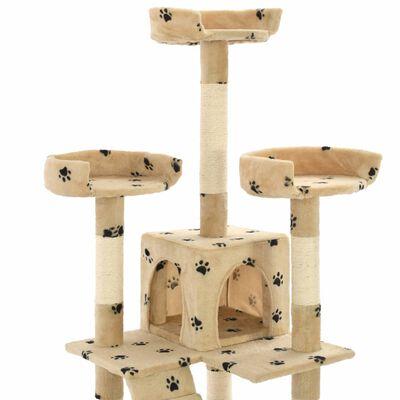 vidaXL Katträd med klöspelare i sisal 170 cm tassavtryck beige