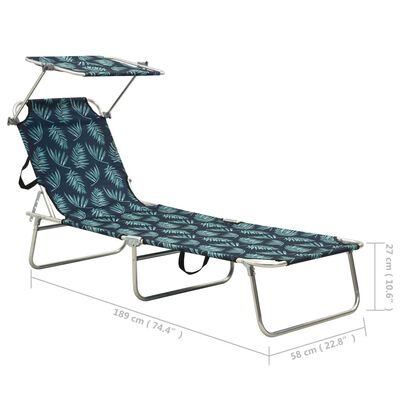 vidaXL Hopfällbar solsäng med tak stål bladmönster, print