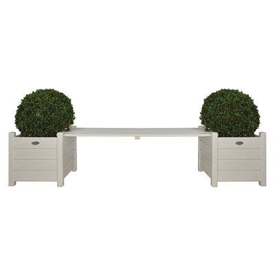 Esschert Design Blomlådor med bänk vit CF33W