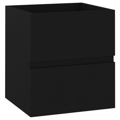 vidaXL Badrumsskåp med inbyggt handfat svart spånskiva