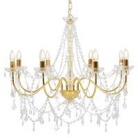 vidaXL Takkrona med pärlor guld 8 x E14-glödlampor