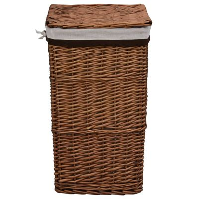 vidaXL Stapelbar tvättkorg brun pil
