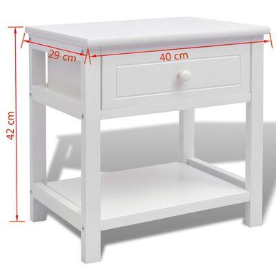 vidaXL Nattduksbord trä vit