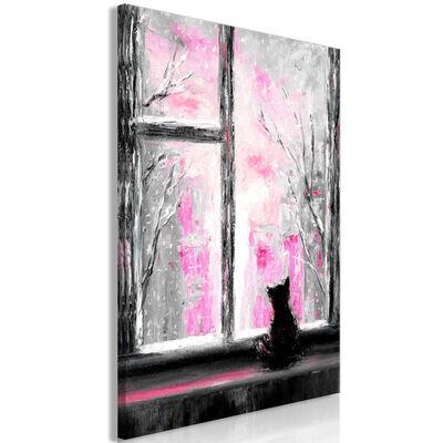 Tavla - Longing Kitty (1 Part) Vertical Pink - 60x90 Cm