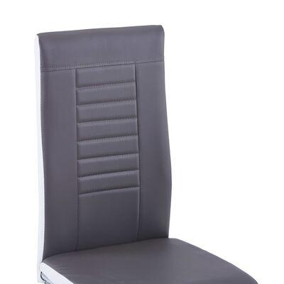 vidaXL Fribärande matstolar 2 st grå konstläder
