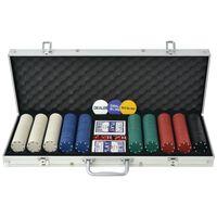 vidaXL Pokerset med 500 marker aluminium